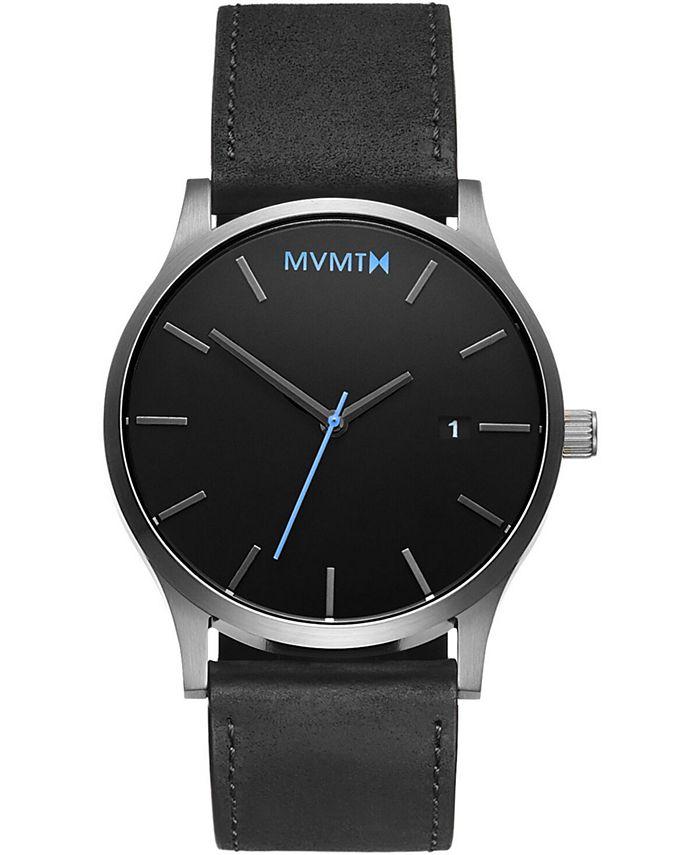 MVMT - Men's Classic Black Leather Strap Watch 45mm