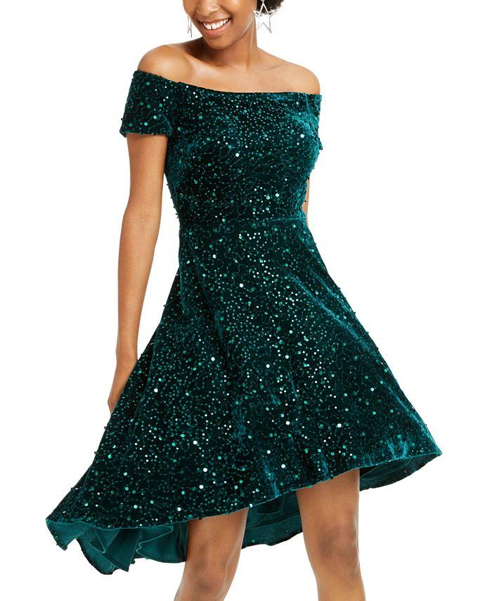 Morgan & Company - Juniors' Velvet Sequined Off-The-Shoulder Dress
