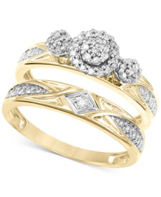 Diamond Cluster 3 Stone Bridal Set (1/5 ct. t.w.) in 14k Gold