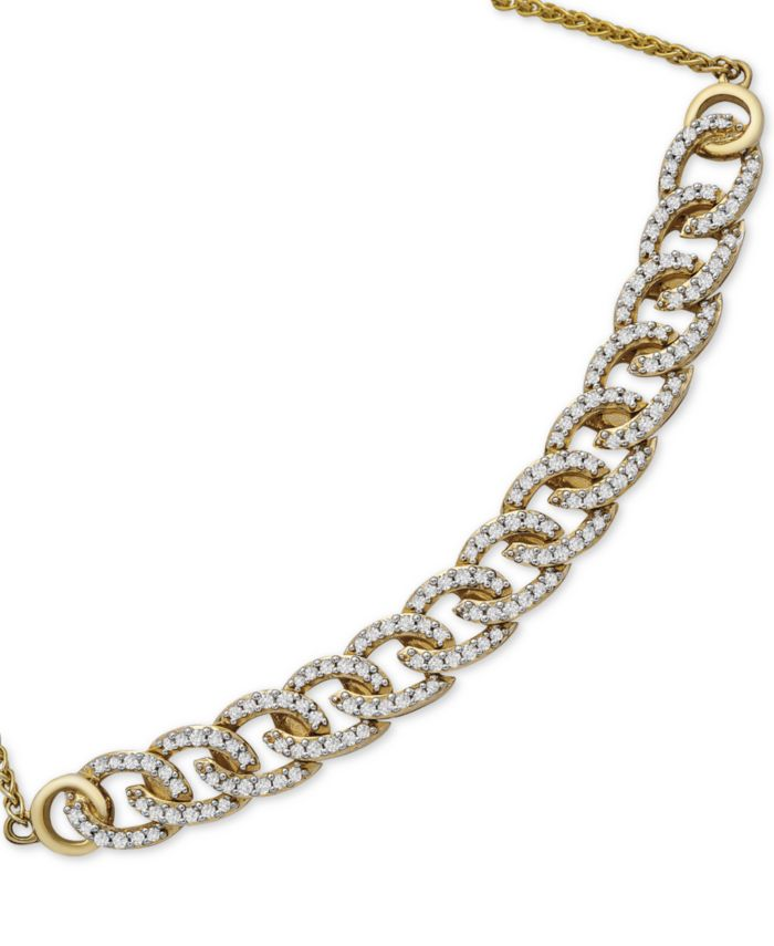 Wrapped in Love Diamond Chain Link Bolo Bracelet (1/2 ct. t.w.) in 10k Gold, Created for Macy's & Reviews - Bracelets - Jewelry & Watches - Macy's