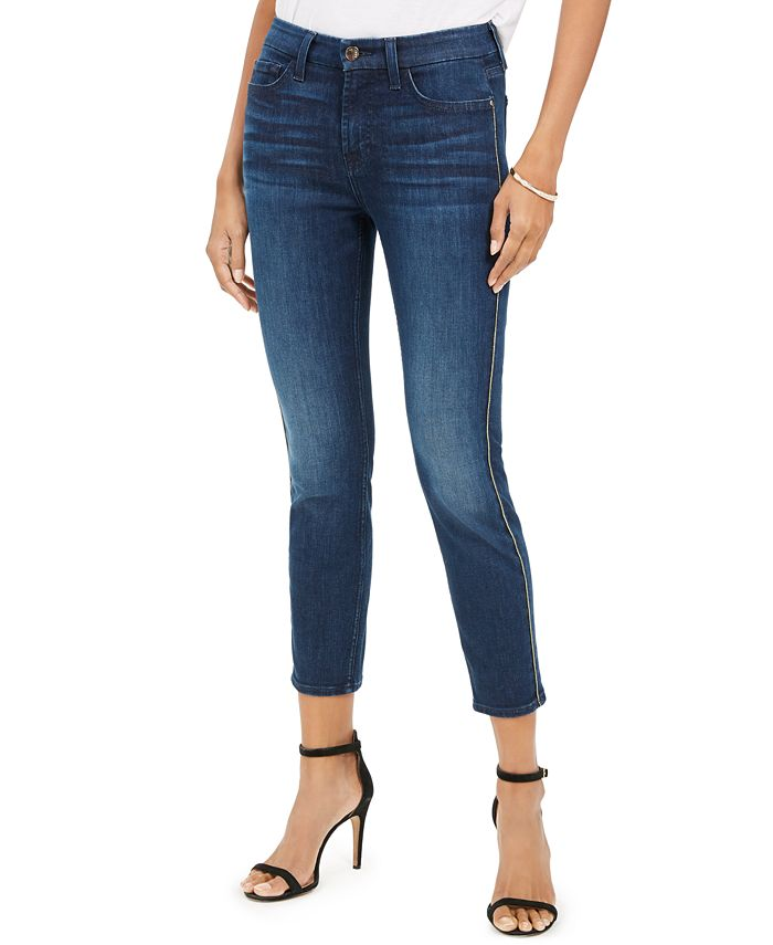 Jen7 by 7 For All Mankind - Metallic-Seam Skinny Jeans