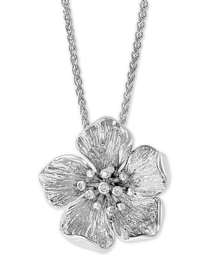"""EFFY Collection - Diamond Accent Flower 18"""" Pendant Necklace in Sterling Silver"""