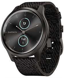 Garmin Unisex vívomove Style Black Pepper Nylon Strap Touchscreen Hybrid Smart Watch 42mm