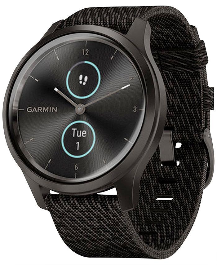Garmin - Unisex Vívomove Style Black Pepper Nylon Strap Touchscreen Hybrid Smart Watch 42mm