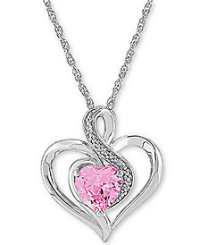 "Pink Sapphire (1-1/2 ct. t.w.) & Diamond 18"" Pendant Necklace in Sterling Silver"