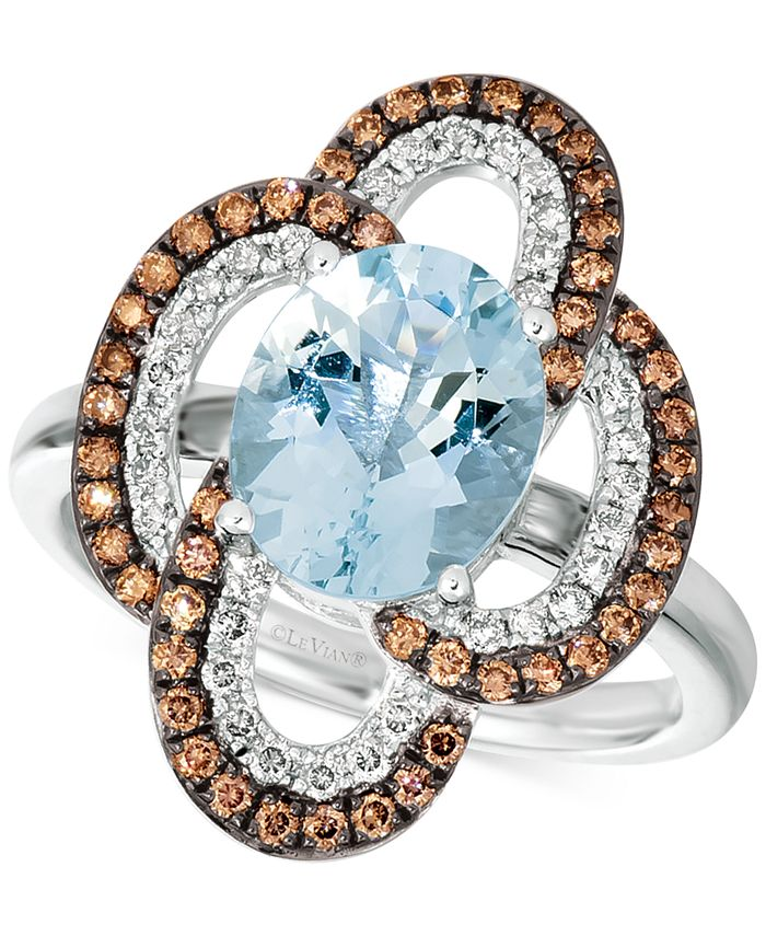 Le Vian - Sea Blue Aquamarine® (2 ct. t.w.), Nude Diamonds™ (1/4 ct. t.w.) & Chocolate Diamonds® (3/8 ct. t.w.) Ring in 14k White Gold