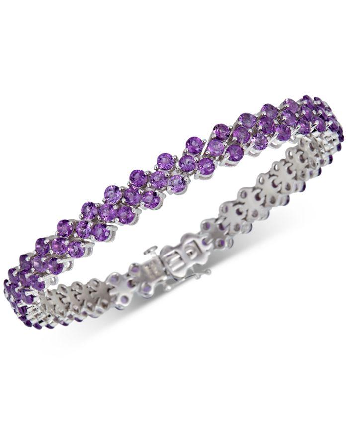 Macy's Amethyst Cluster Bracelet (15 ct. t.w.) Link Bracelet in Sterling Silver & Reviews - Bracelets - Jewelry & Watches - Macy's