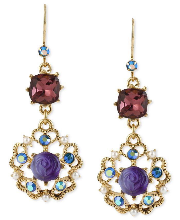 Betsey Johnson - Antique Gold-Tone Flower Medallion Crystal Drop Earrings