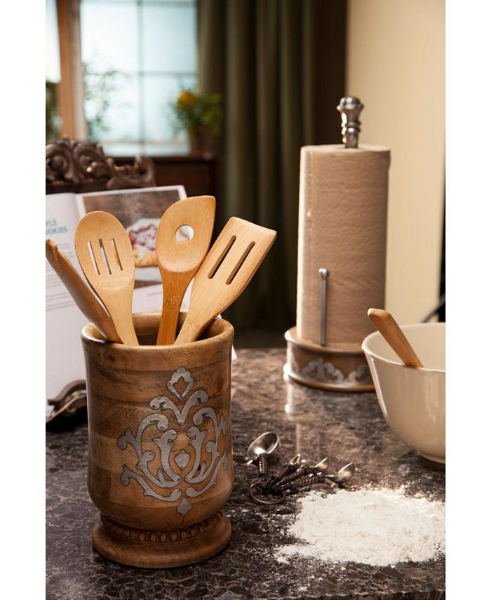 The GG Collection - 8.25-Inch Tall Wood and Metal Inlay Heritage Collection Utensil Holder