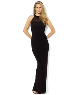Buy macys & suits - Lauren Ralph Lauren Dress, Sleeveless Mesh Beaded Gown