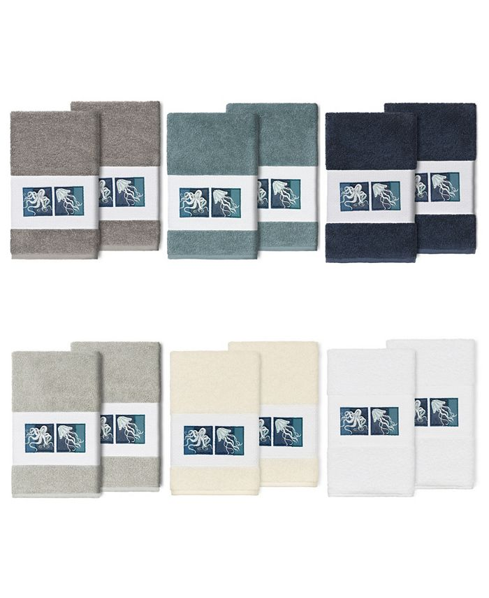 Linum Home - 100% Turkish Cotton Ava 2-Pc. Embellished Hand Towel Set