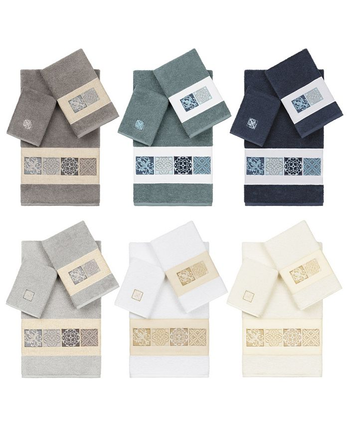 Linum Home - 100% Turkish Cotton Vivian 3-Pc. Embellished Towel Set