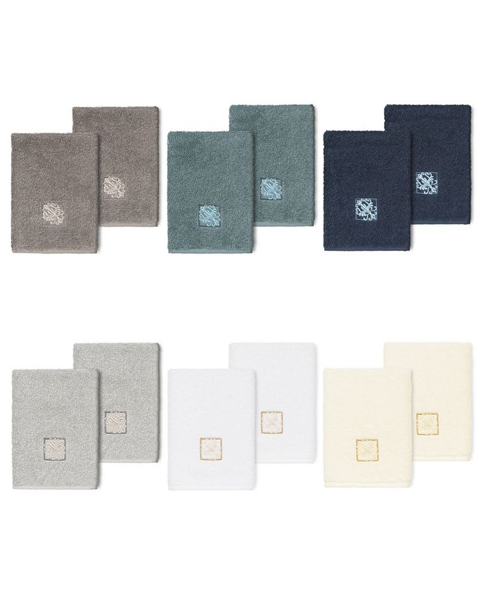 Linum Home - 100% Turkish Cotton Vivian 2-Pc. Embellished Washcloth Set