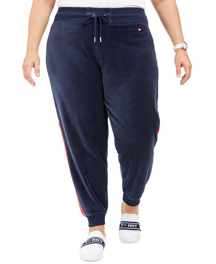 Tommy Hilfiger - Plus Size Velour Varsity-Panel Jogger Pants