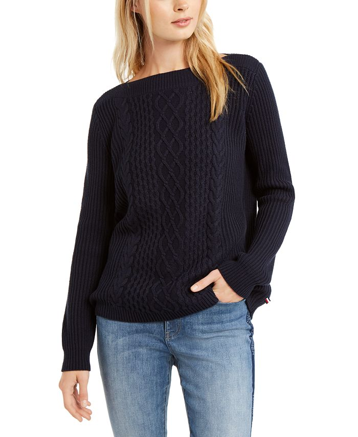 Tommy Hilfiger - Cable-Knit Boat-Neck Sweater