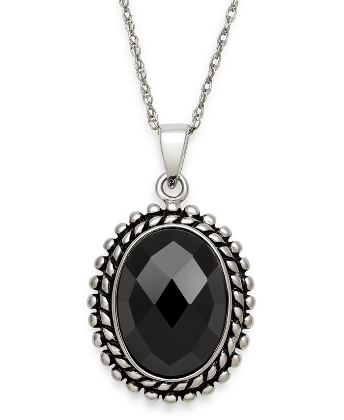 """Macy's - Black Onyx (10 x 14 mm) Vintage-Inspired Pendant with 18"""" Chain in Sterling Silver"""
