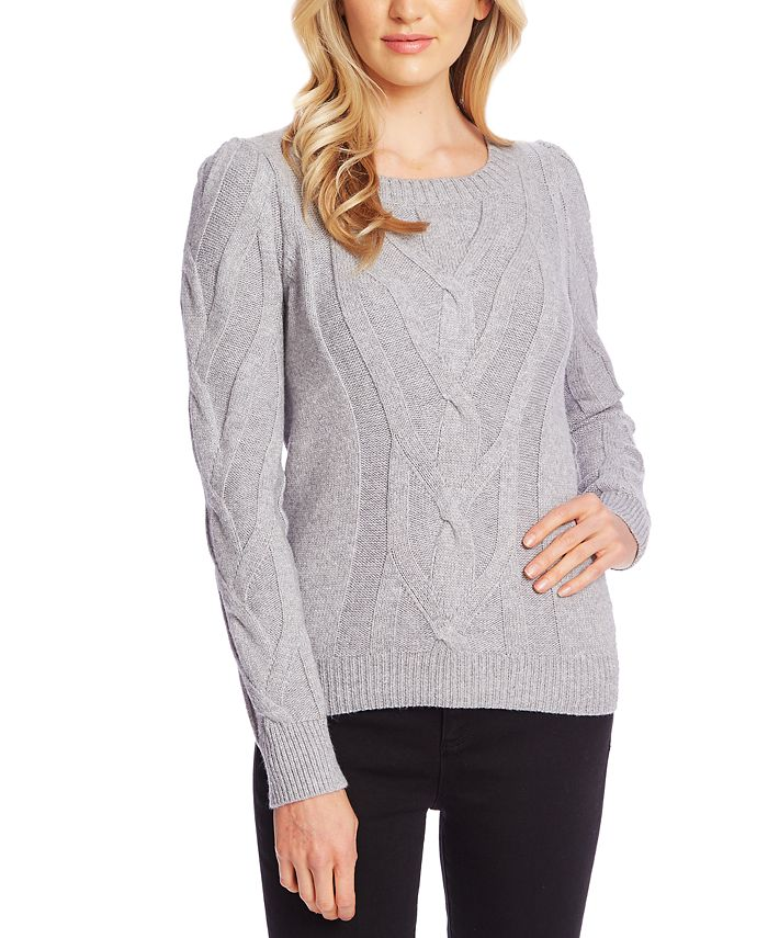 CeCe - Cable Knit Puff Sleeve Sweater