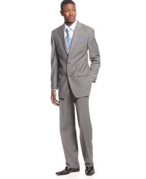 Sean John Suit Grey Sharkskin Striped