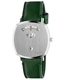 Gucci Grip Green Leather Strap Watch 38mm