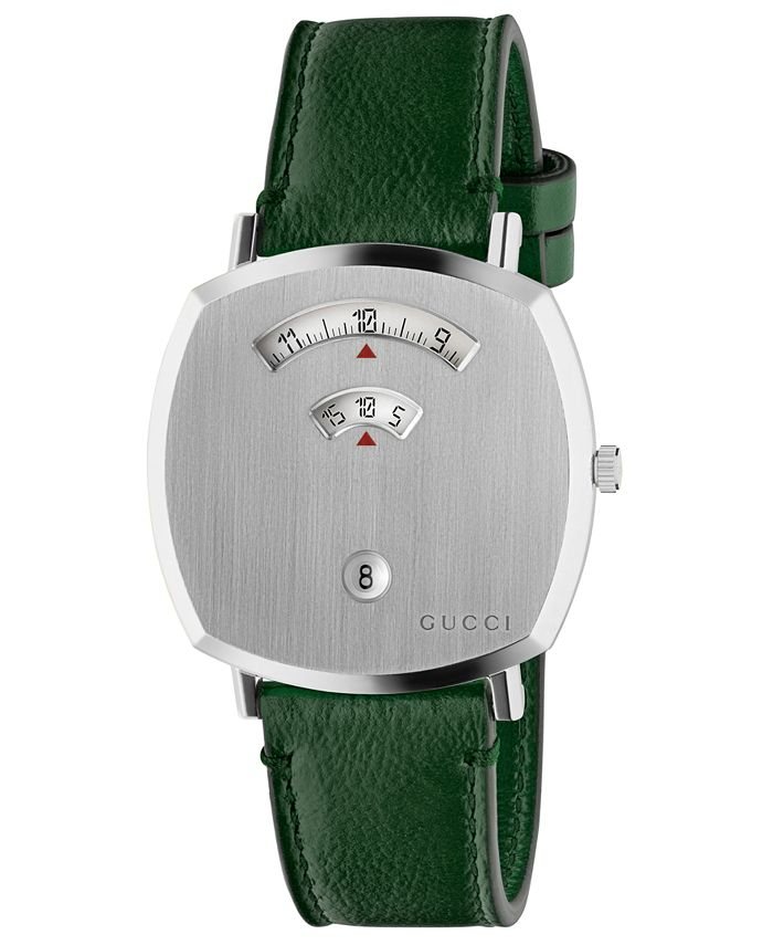 Gucci - Unisex Grip Green Leather Strap Watch 38mm