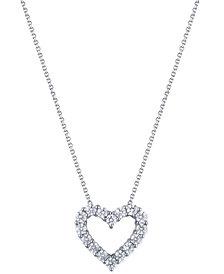 "Diamond 18"" Heart Pendant Necklace (2 ct. t.w.) in 14k White Gold"