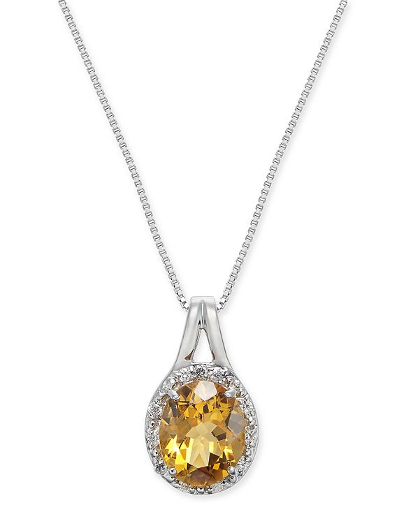 "Macy's Citrine (2-3/8 ct. t.w.) & Diamond (1/10 ct. t.w.) 18"" Pendant Necklace in Sterling Silver"