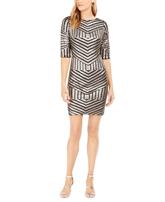 R & M Richards - Petite Sequined Sheath Dress
