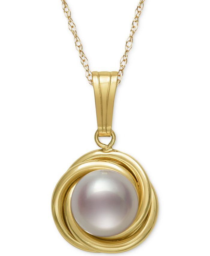 Belle de Mer - Pearl Necklace, 14k Gold Button Cultured Freshwater Pearl Love Knot Pendant