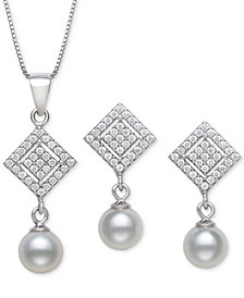 2-Pc. Set Cultured Freshwater Pearl (6mm) & Cubic Zirconia Pendant Necklace & Matching Drop Earrings in Sterling Silver