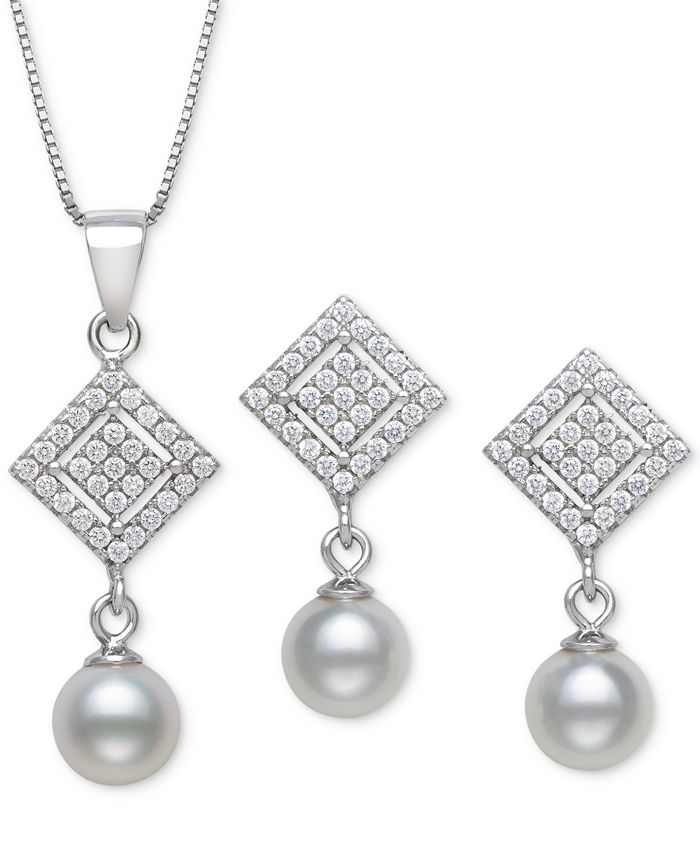 Macy's - 2-Pc. Set Cultured Freshwater Pearl (6mm) & Cubic Zirconia Pendant Necklace & Matching Drop Earrings in Sterling Silver