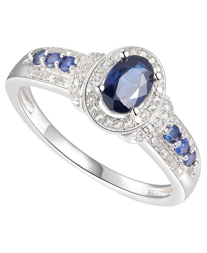 Macy's - Sapphire (3/4 ct. t.w.) & Diamond (1/10 ct. t.w.) Ring in Sterling Silver