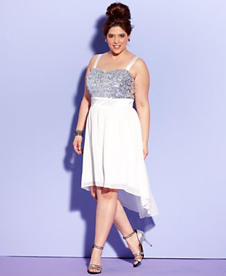 Trixxi Plus Size Dress, Sleeveless Sequin High-Low