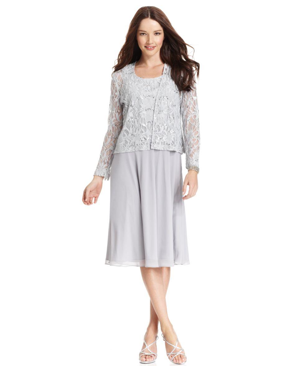 Jessica Howard Petite Dress and Jacket, Sleeveless Lace Sequined   Dresses   Women
