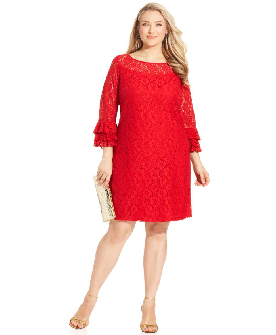 Jessica Howard Plus Size Dress, Long Sleeve Ruffled Lace   Dresses   Plus Sizes