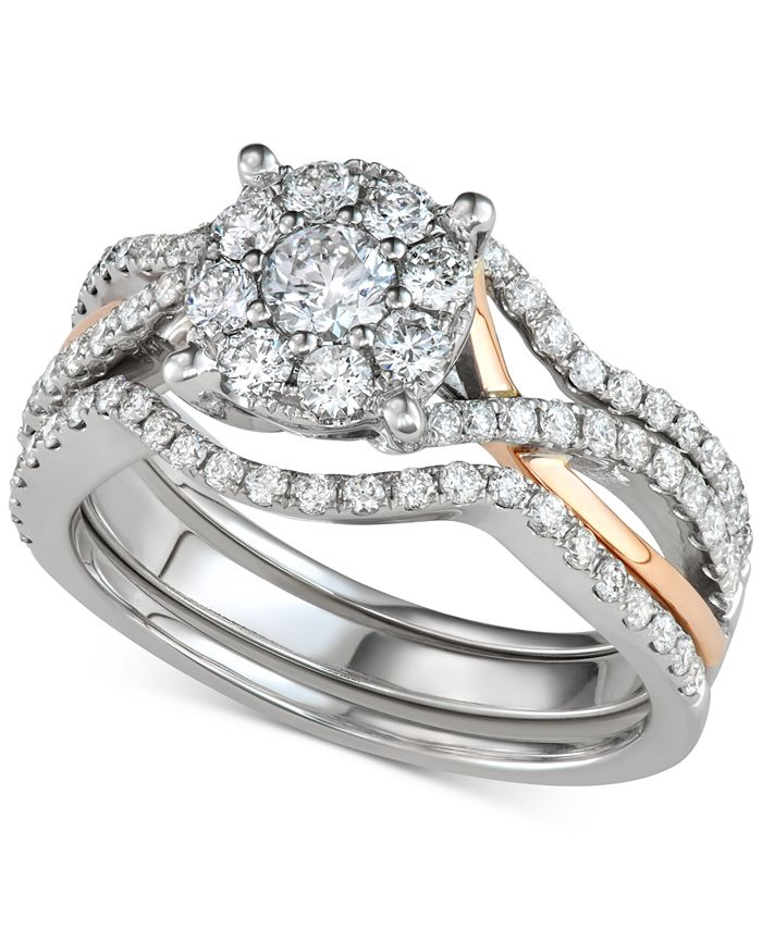 Macy's - 3-Pc. Diamond Halo Openwork Bridal Set (1-1/7 ct. t.w.) in 14k White & Rose Gold