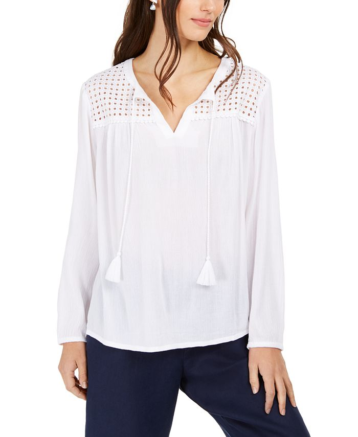 Charter Club - Tassel-Tie Eyelet Linen Top, Created For Macy's
