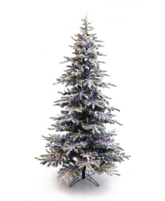 7.5' Pre-Lit Slim Flocked Christmas Tree with Warm White and Multicolor LED Lights