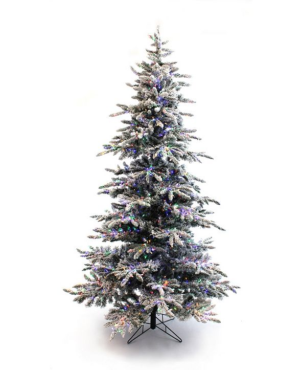 Perfect Holiday 7.5' Pre-Lit Slim Flocked Christmas Tree with Warm White and Multicolor LED Lights