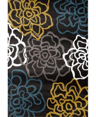 "Montane Mon108 Gray/Yellow 3'3"" x 5' Area Rug"