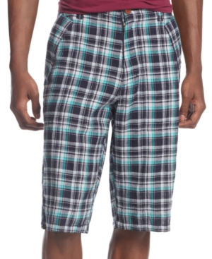 Sean John Shorts LinenBlend Plaid Cargo Shorts