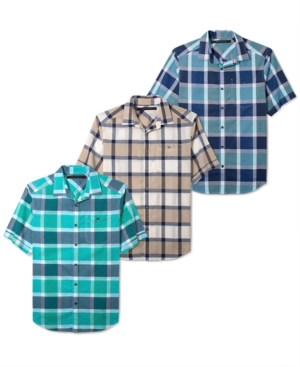 Sean John Shirt Big and Tall Bright Check Short Sleeve Shirt