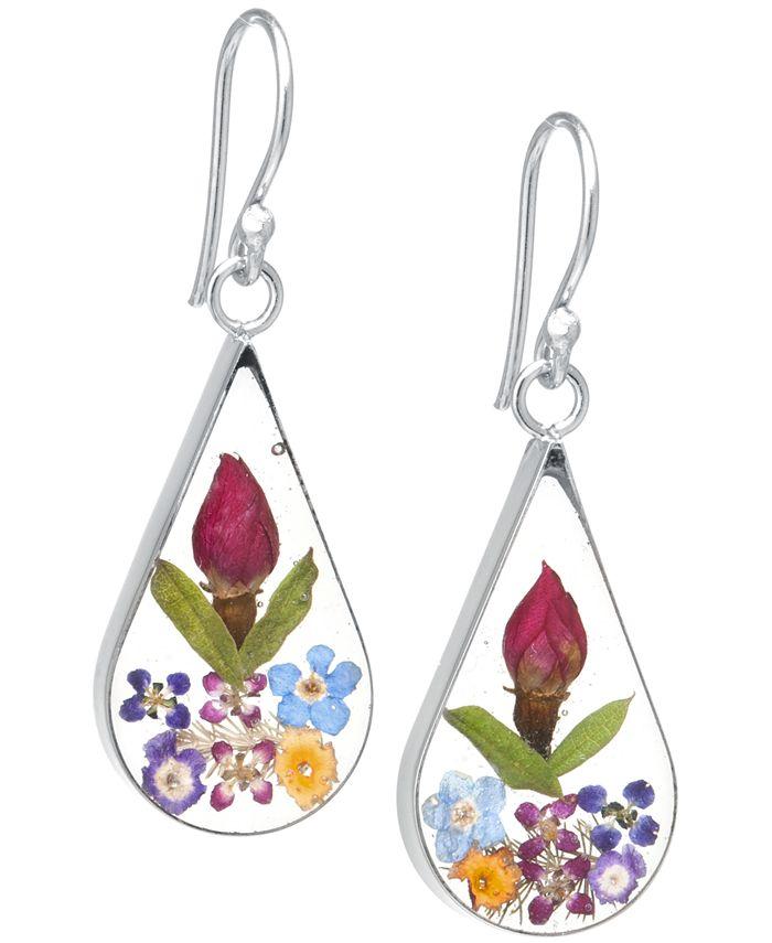Giani Bernini - Medium Teardrop Dried Flower Earrings in Sterling Silver. Available in Multi, Blue, Yellow or Purple