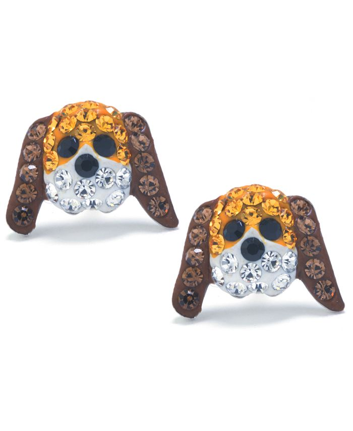 Giani Bernini - Brown and White Pave Crystal Dog Face Stud Earrings set in Sterling Silver