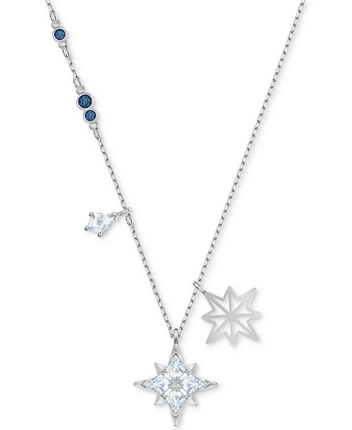 "Swarovski - Silver-Tone Crystal Star Pendant Necklace, 14-7/8"" + 2"" extender"