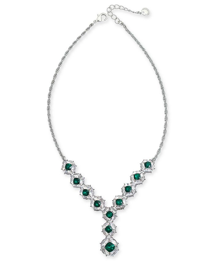 """Charter Club - Crystal & Stone Cluster Lariat Necklace, 17"""" + 3"""" extender"""