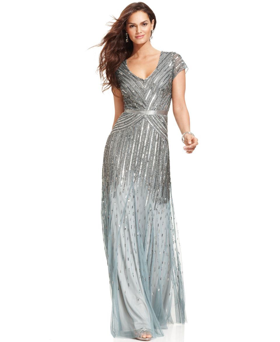 Adrianna Papell Dress, Cap Sleeve Beaded Sequined Gown Dresses Women