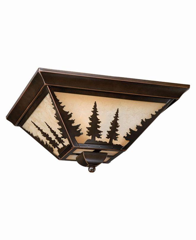 Vaxcel Yosemite Amber Glass Rustic Tree Flush Mount Light