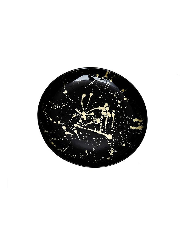Classic Touch Set Of 4 Black Dessert Plates with Splashy Gold Tone Design