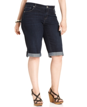 Style & co. Plus Size Shorts, Cuffed Denim, Caneel Wash