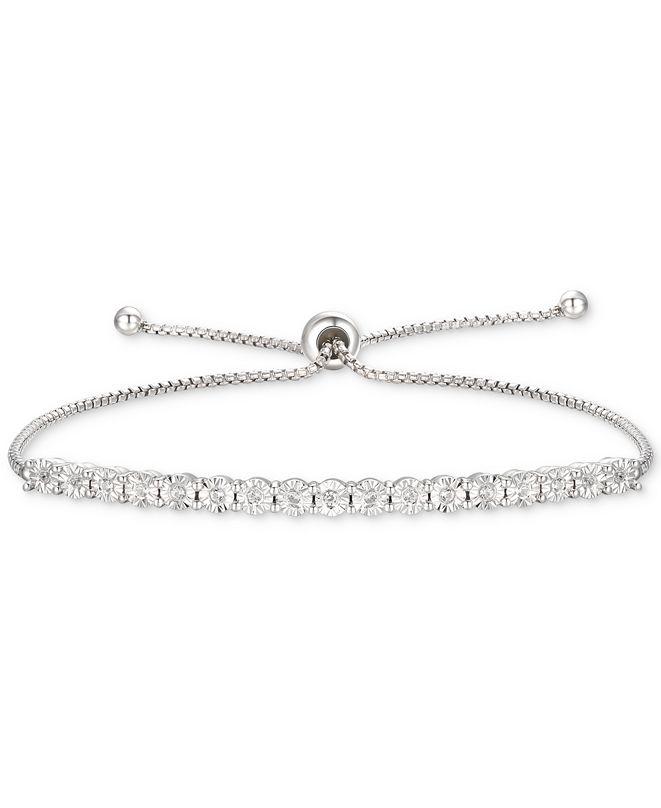Macy's Diamond Bolo Bracelet (1/10 ct. t.w.) in Sterling Silver